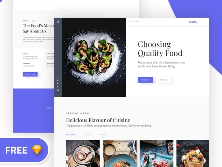 Foodly Landing Page from UIGarage