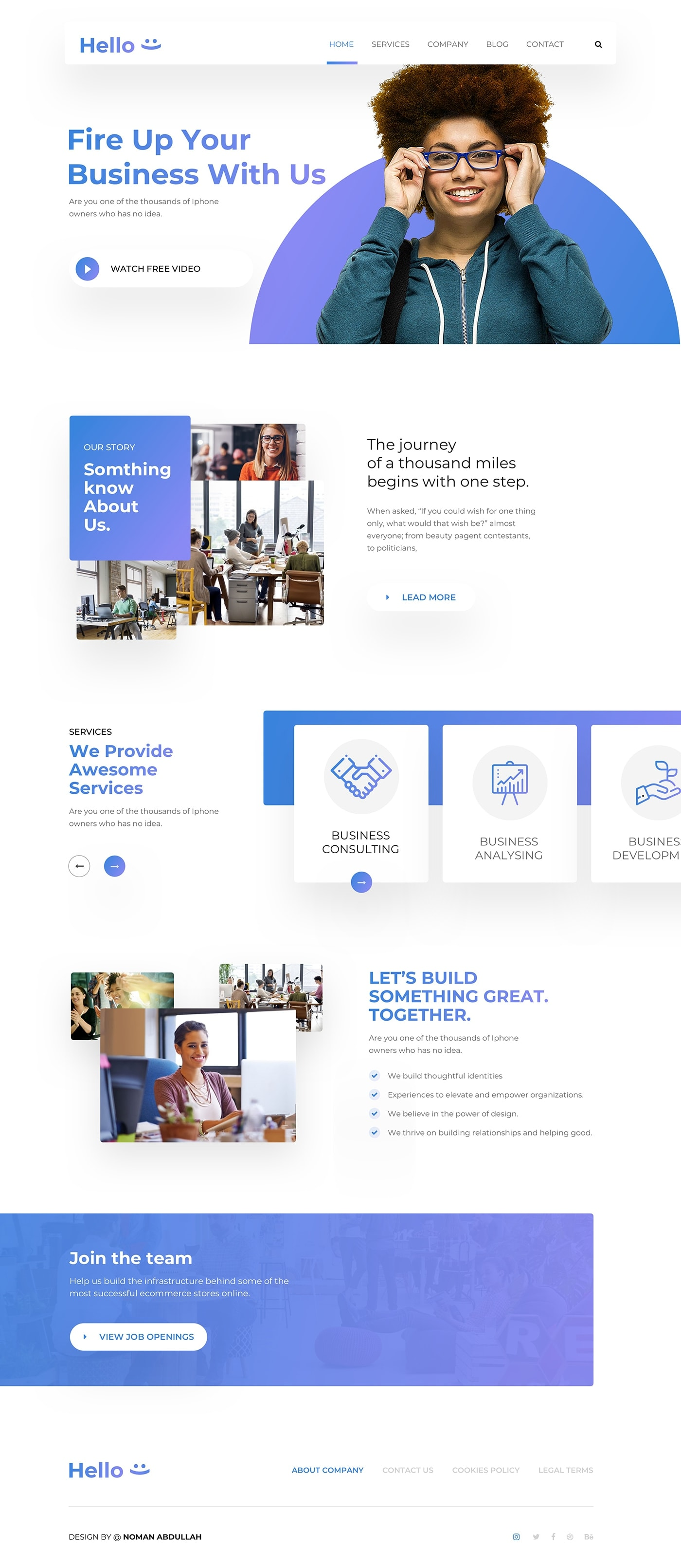 Hello Landing Page from UIGarage