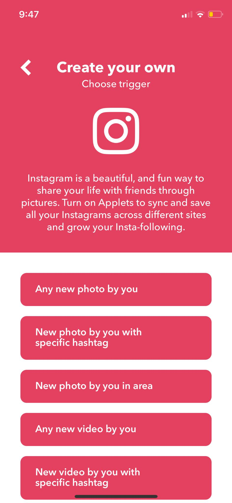 Instagram Trigger on iOS by IFTTT