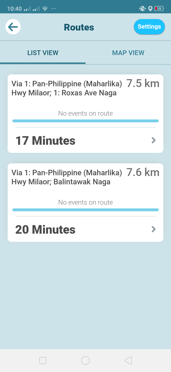 List View on Android by Waze from UIGarage