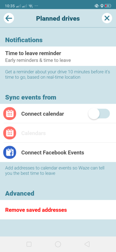 Planned Drive Settings on Android by Waze from UIGarage