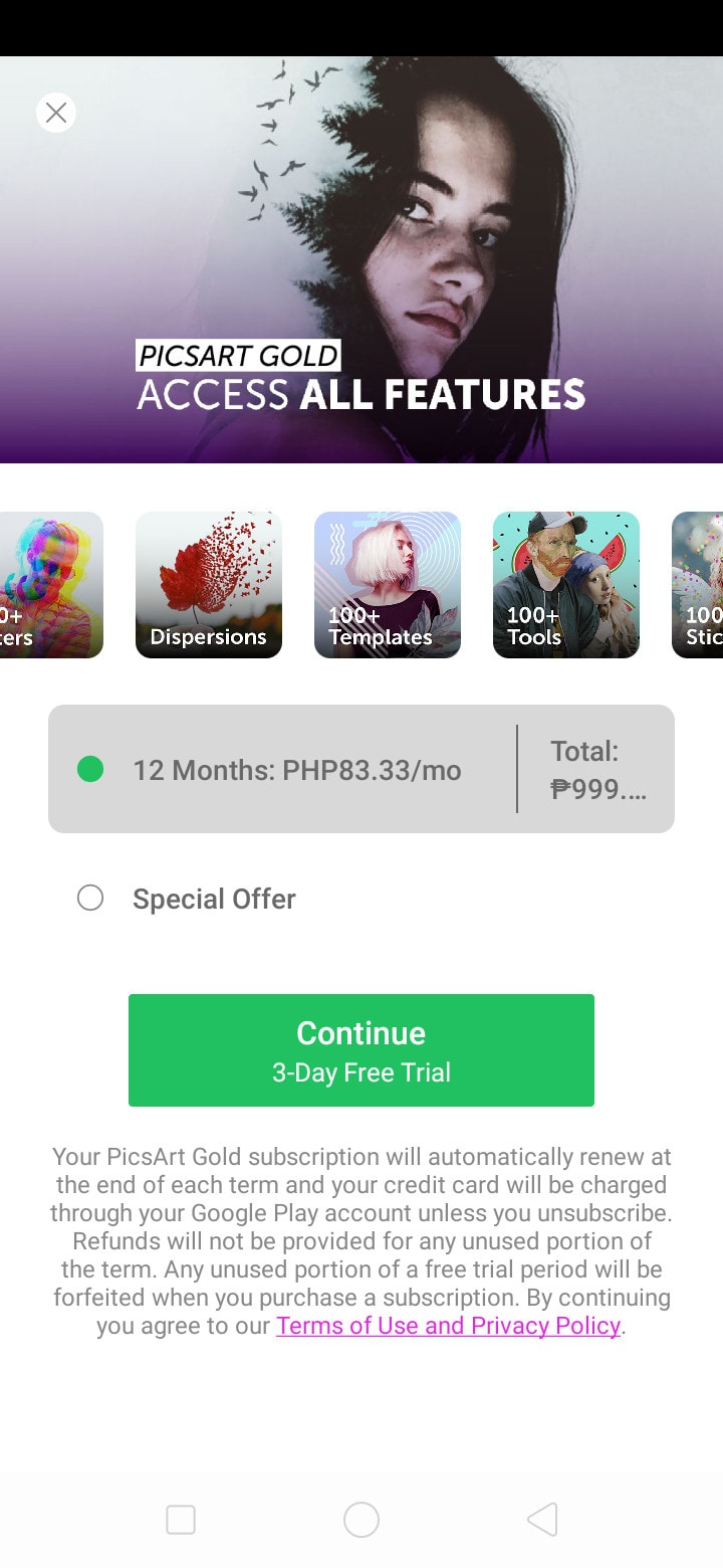 Premium on Android by PicsArt