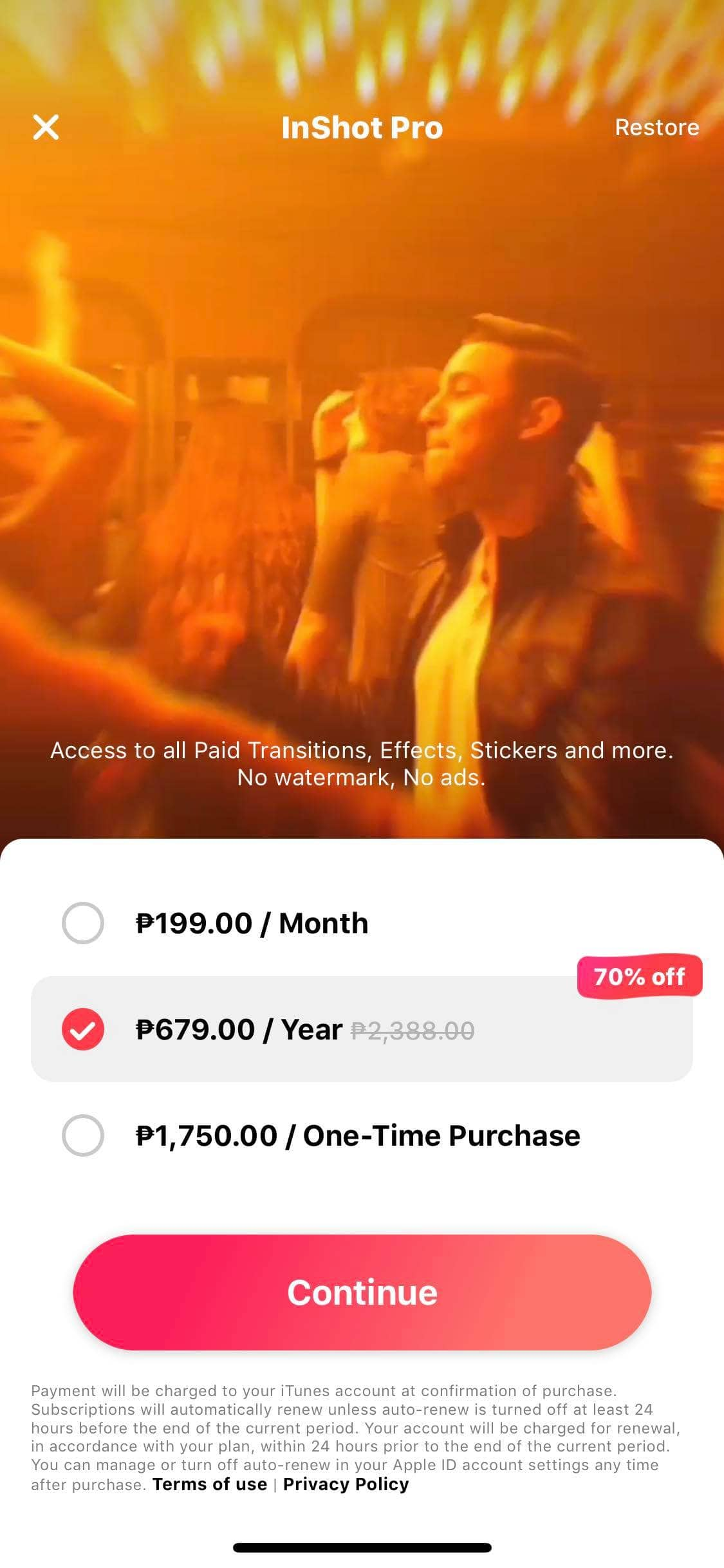 Pricing on iOS by InShot
