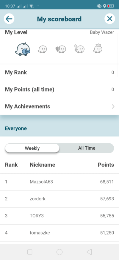 Scoreboard on Android by Waze from UIGarage