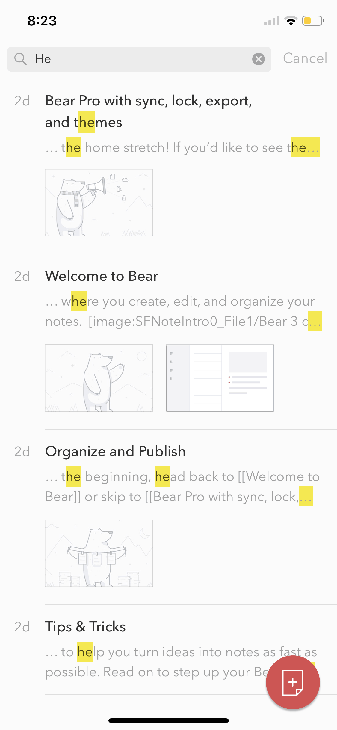 Search on iOS by Bear