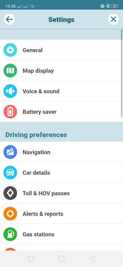 Settings on Android by Waze from UIGarage