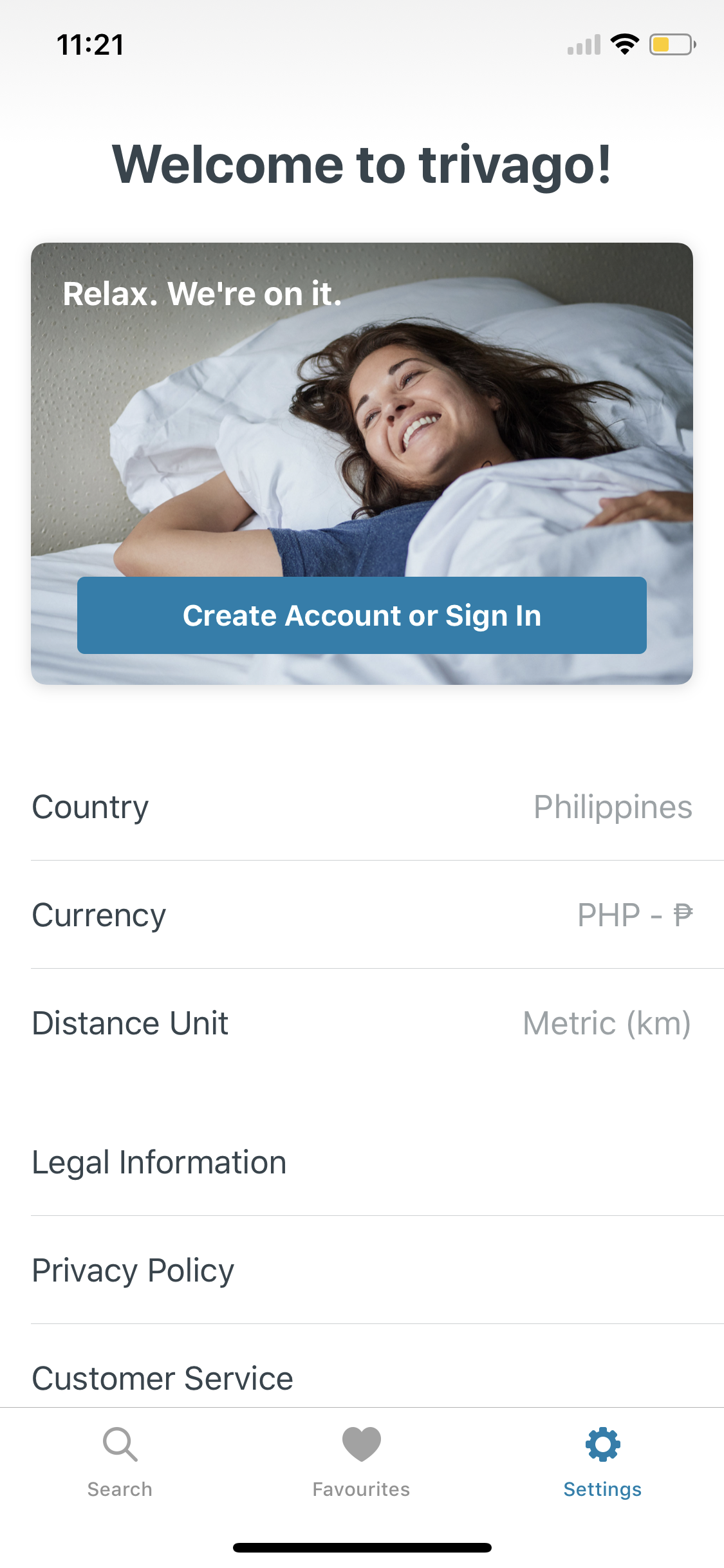 Settings on iOS by Trivago from UIGarage