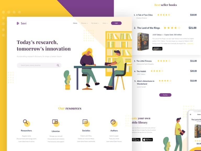 Sevi - Online Library Landing Page from UIGarage