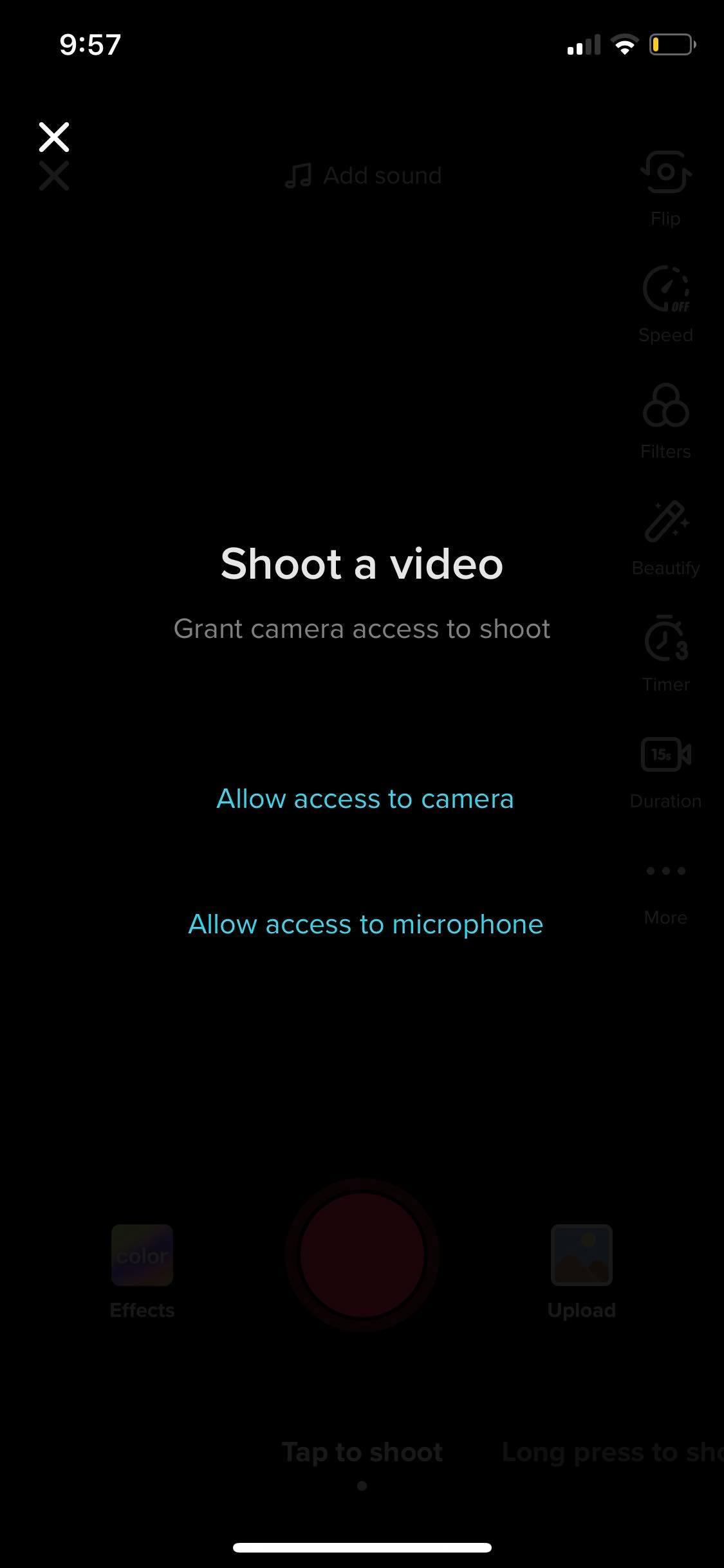 Shoot a Video on iOS by Tiktok