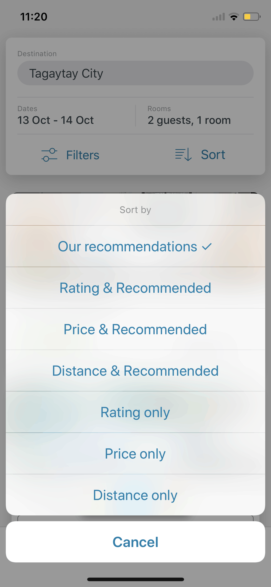 Sort on iOS by Trivago from UIGarage
