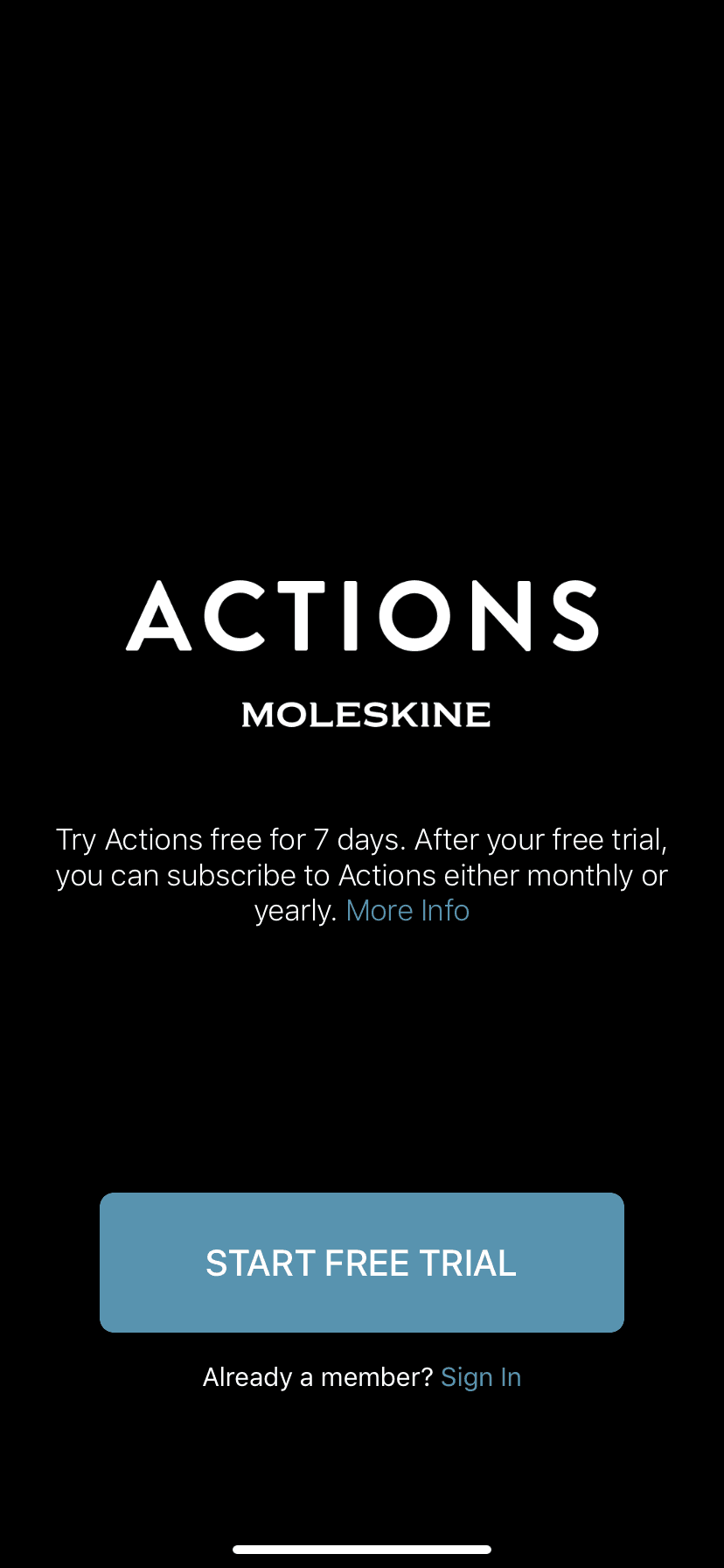 Start Free Trial on iOS by Actions