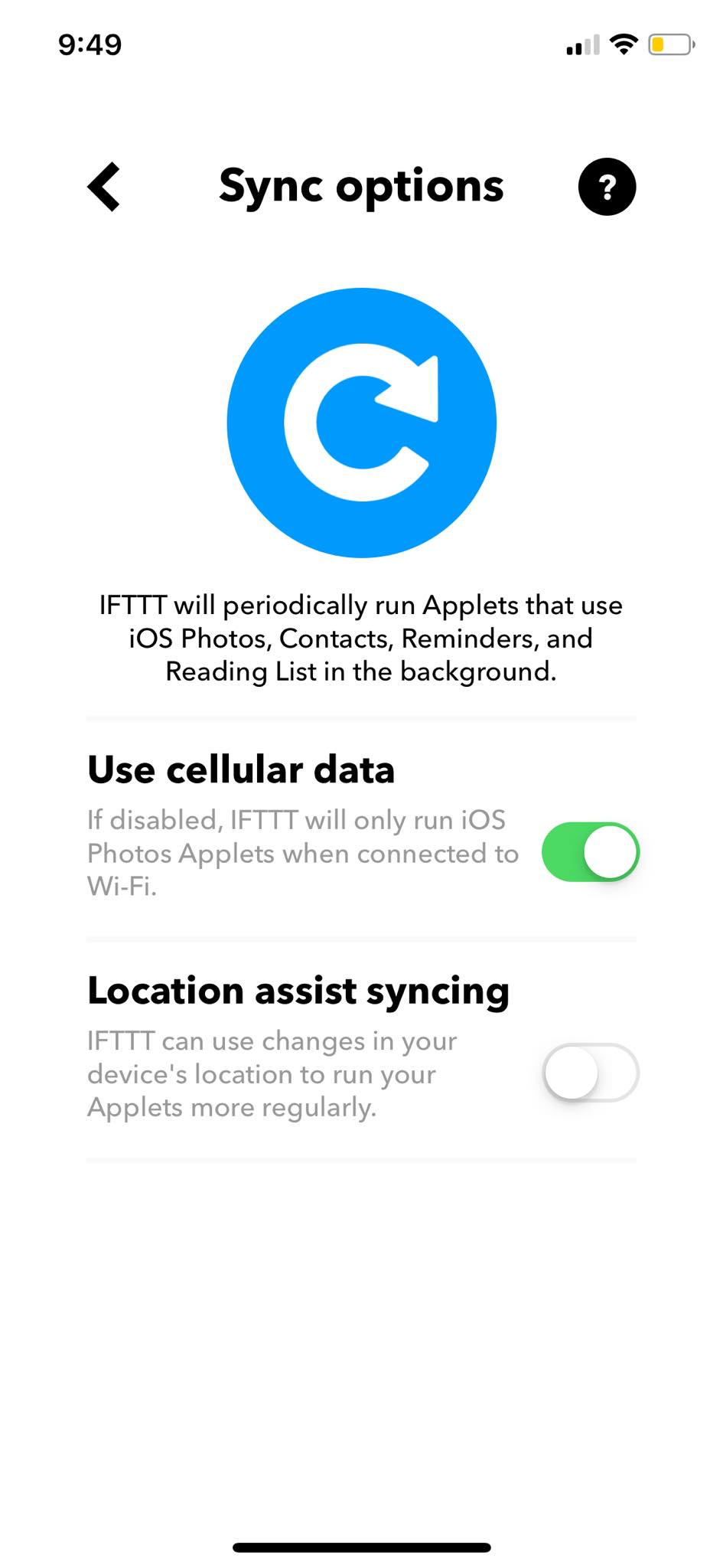 Sync Options on iOS by IFTTT