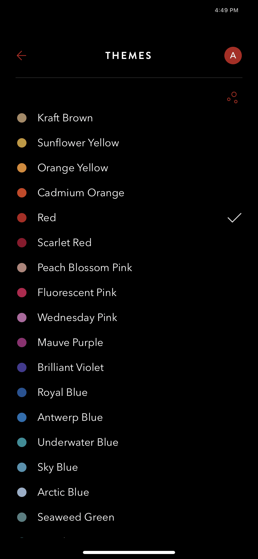 Themes Color Picker on iOS by Timepage