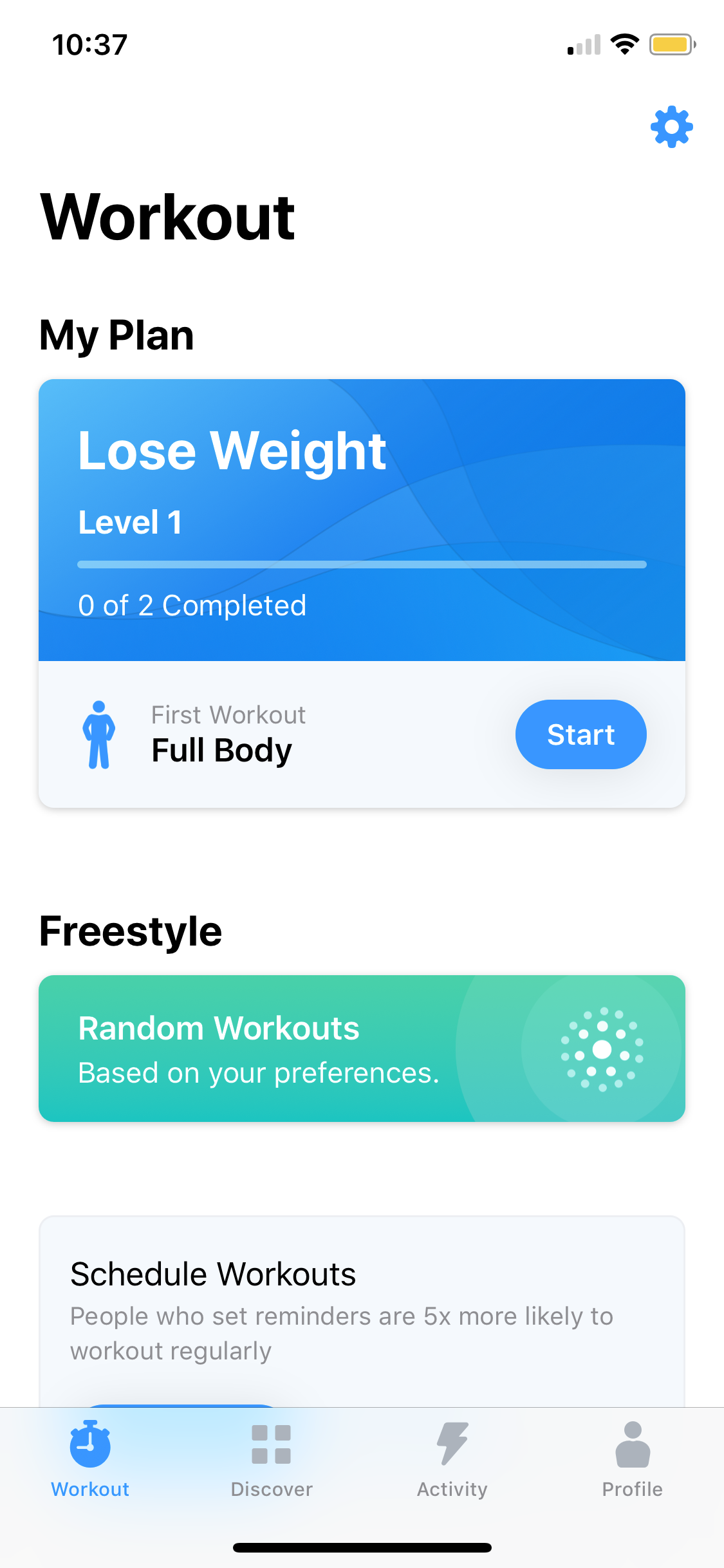 Workout on iOS by Seven from UIGarage