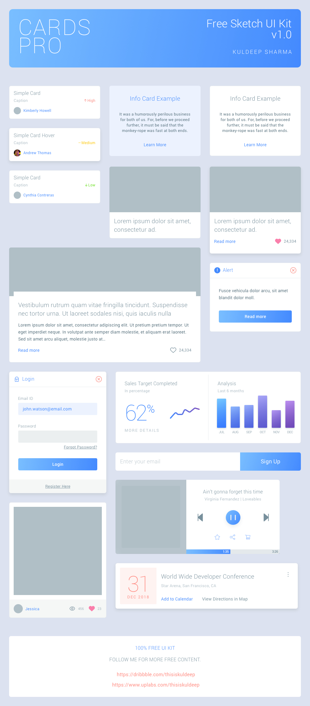 Cards Pro Free UI Kit from UIGarage