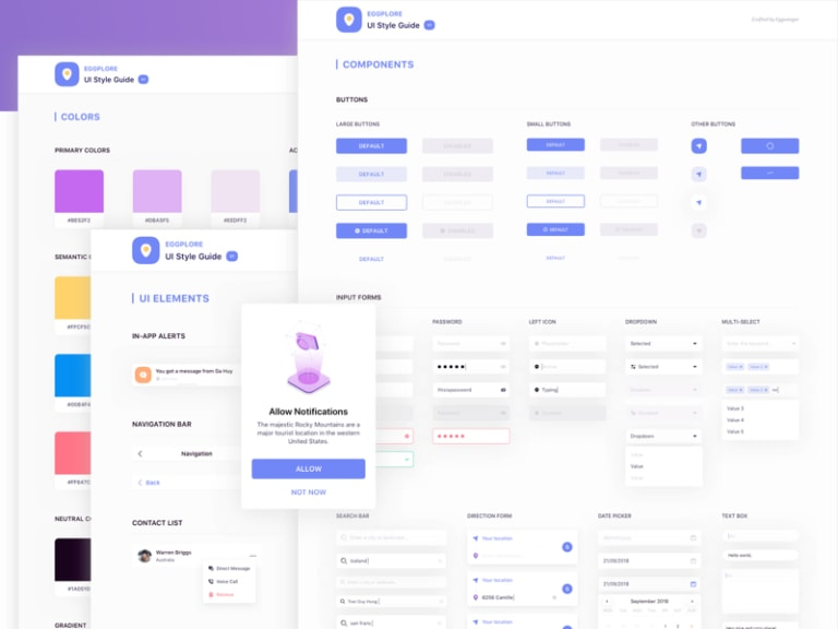 Eggplore UI Style Guide from UIGarage