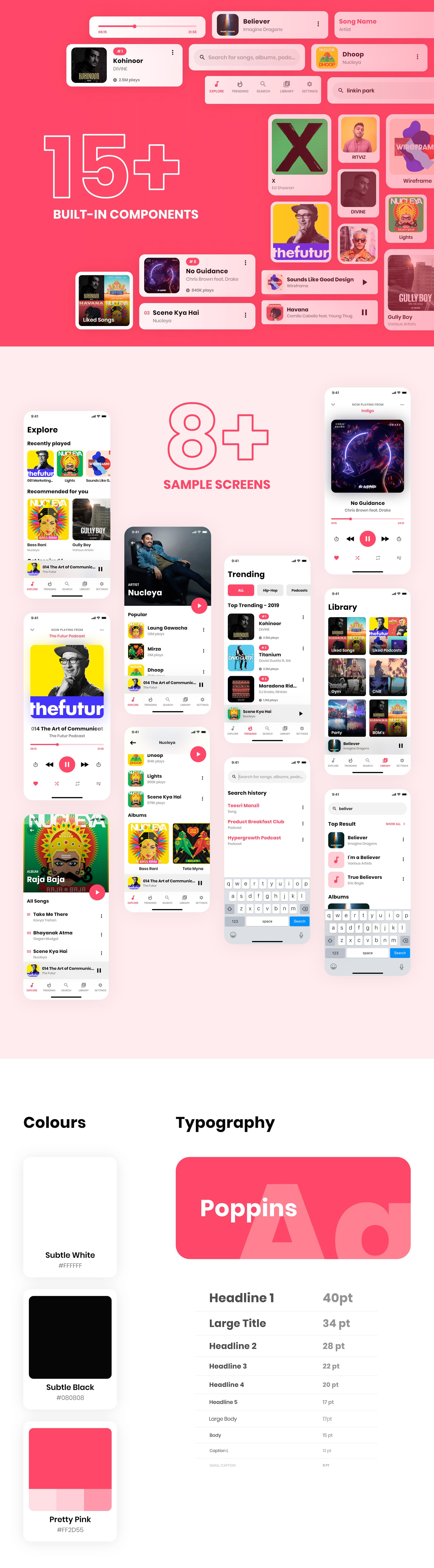 Music App UI Kit for Adobe XD from UIGarage