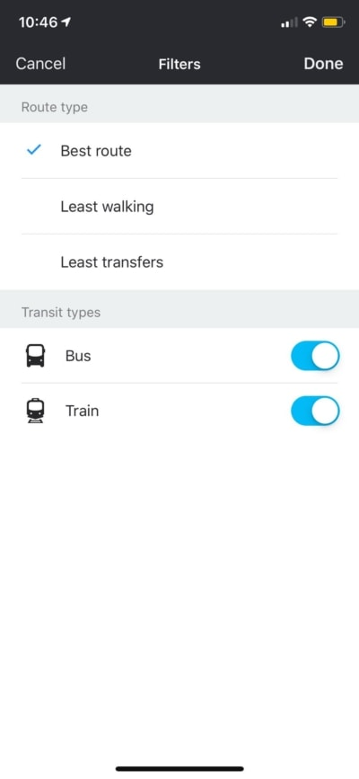 Filters on iOS by Moovit from UIGarage
