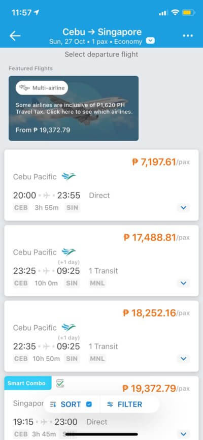 Flight Results on iOS by Traveloka from UIGarage