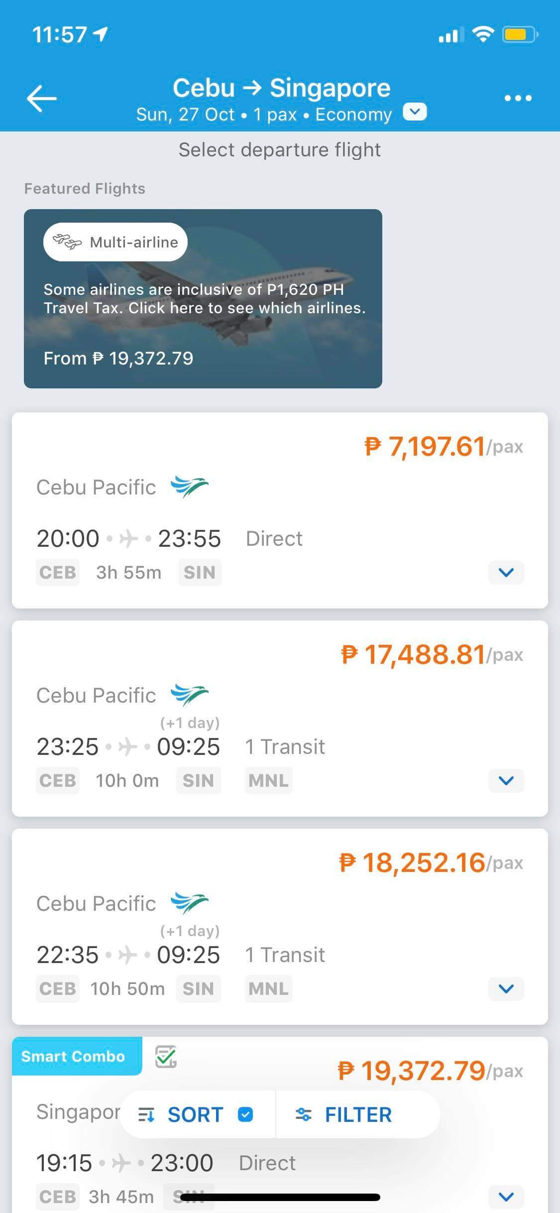 Flight Results on iOS by Traveloka