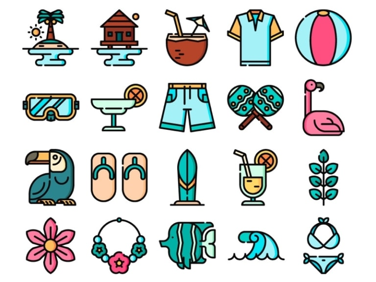Tropical Icon Set from UIGarage