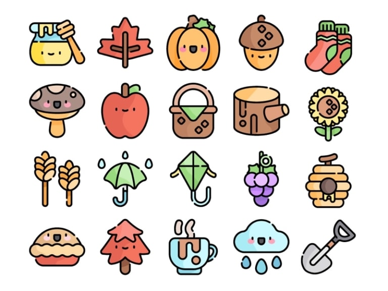 Autumn Kawaii Icon Set from UIGarage
