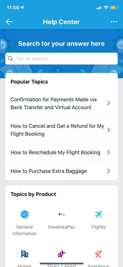 Help Center on iOS by Traveloka from UIGarage