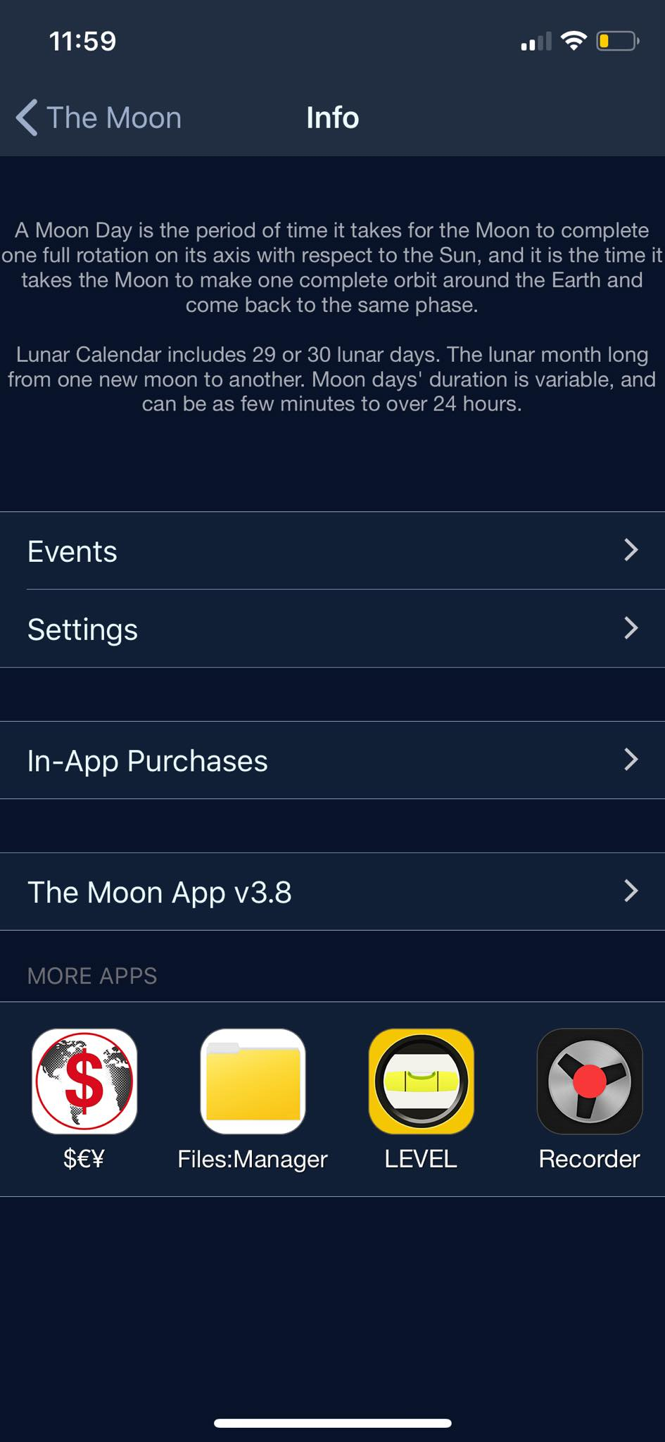 Info on iOS by The Moon from UIGarage