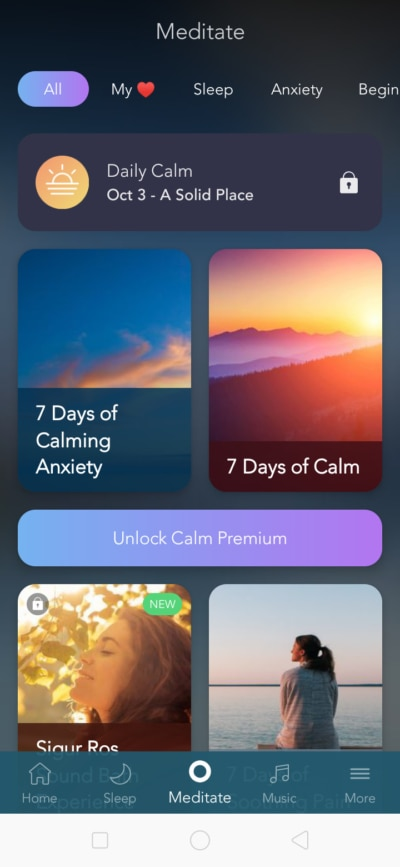 Meditate on Android by Calm from UIGarage