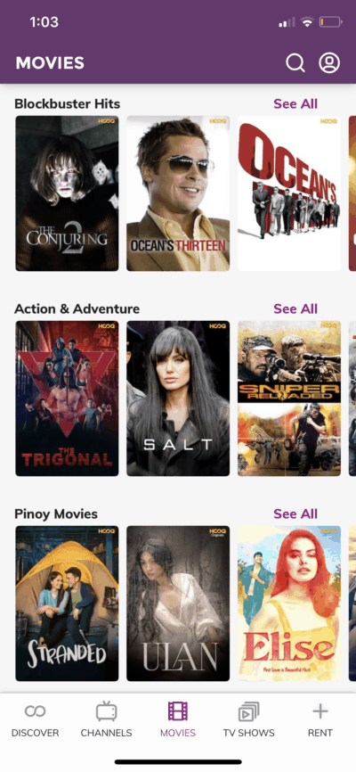 Movies on iOS by Hooq from UIGarage