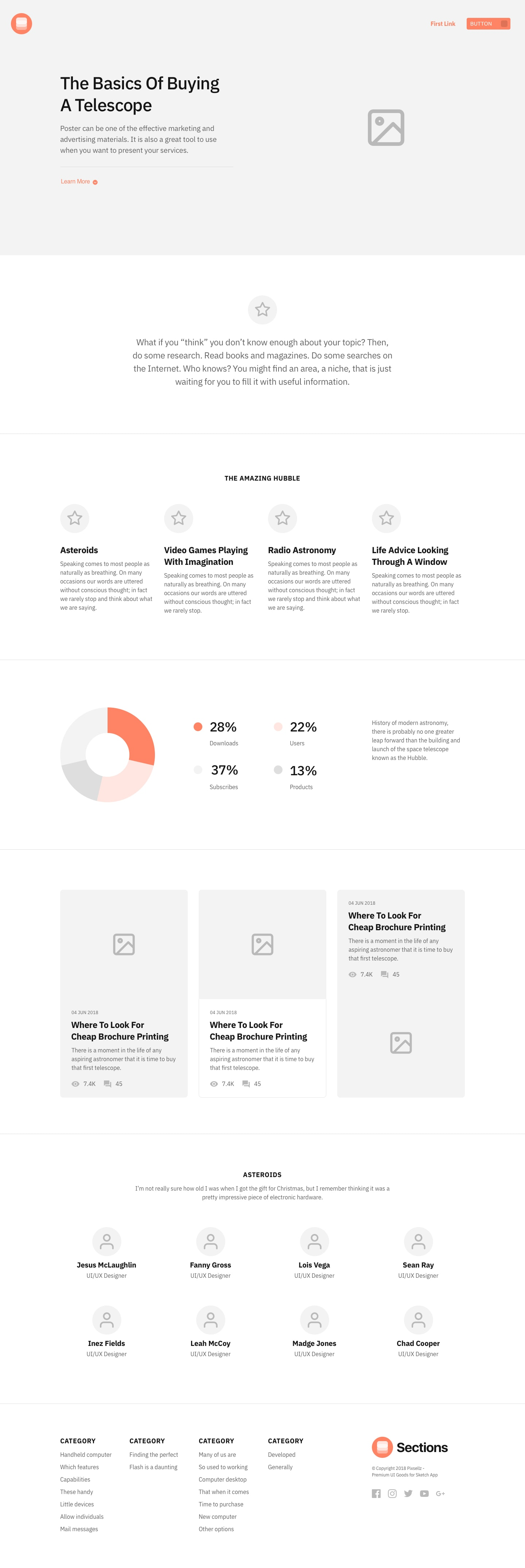 Sections - Landing Pages Wireframe Kit from UIGarage