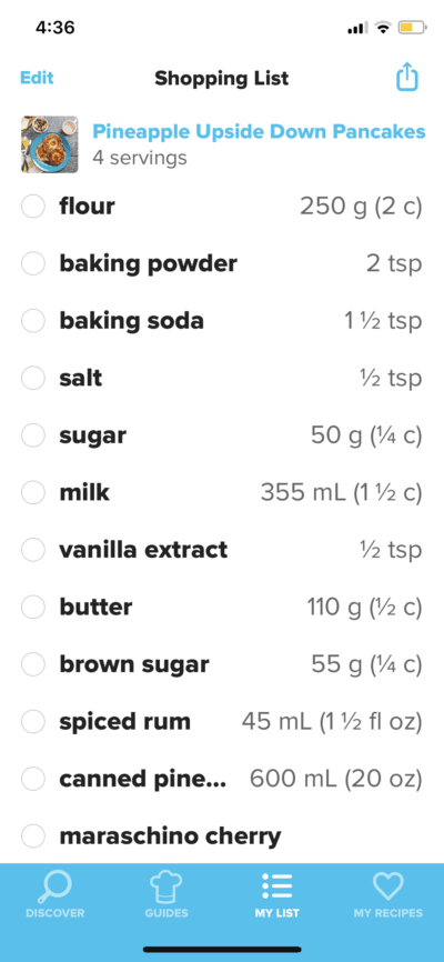 Shopping List on iOS by Tasty from UIGarage