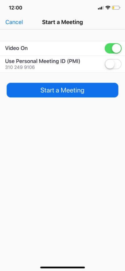 Start a Meetingt on iOS by Zoom from UIGarage