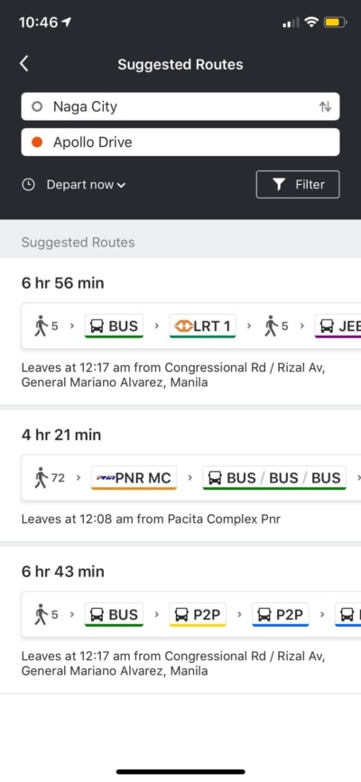 Suggested Routes on iOS by Moovit from UIGarage