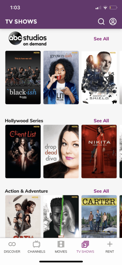 TV Shows on iOS by Hooq from UIGarage
