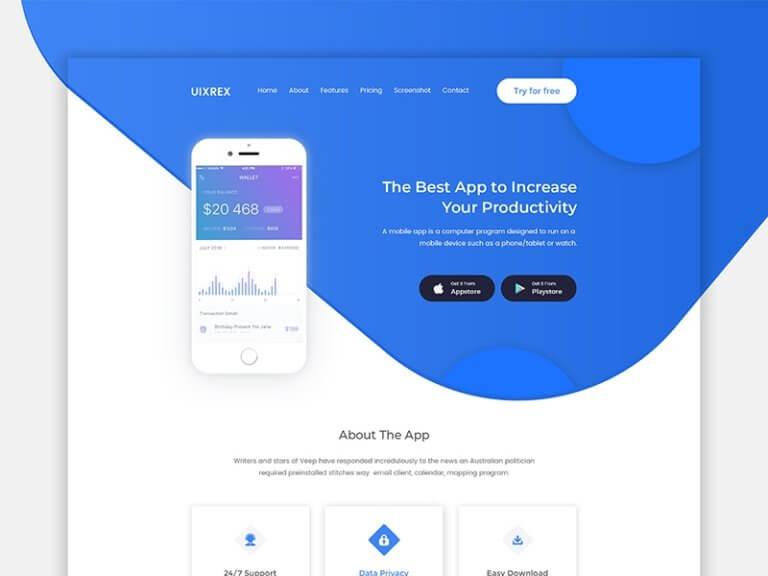 UIXREX App Landing Page from UIGarage