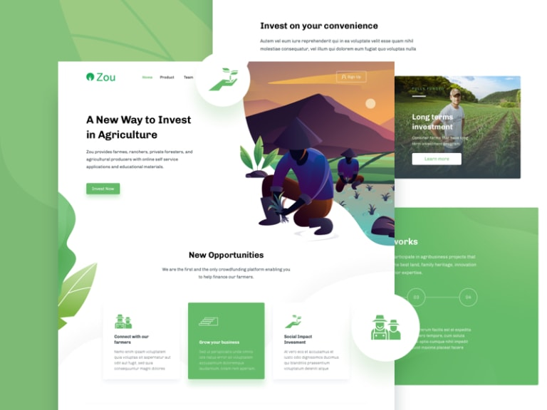 Zou - Farm Landing Page from UIGarage