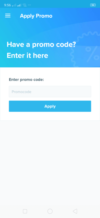 Apply Promo on Android by Wish from UIGarage