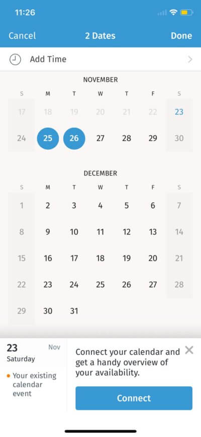 Calendar on iOS by Doodle from UIGarage