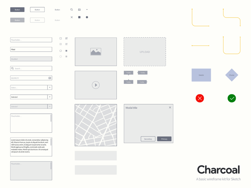 Sketch Wireframe Kit – Charcoal from UIGarage