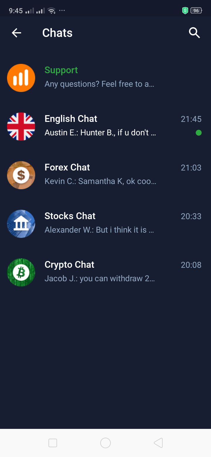 Chats on Android by IQ Options from UIGarage