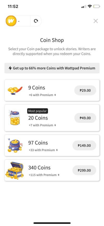 Coins on iOS by Wattpad from UIGarage
