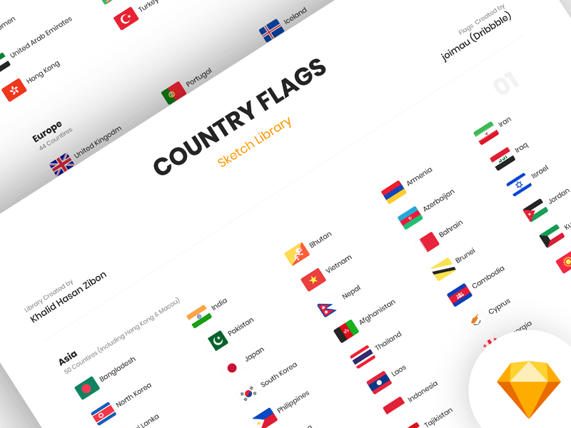 Country Flags Sketch Library from UIGarage