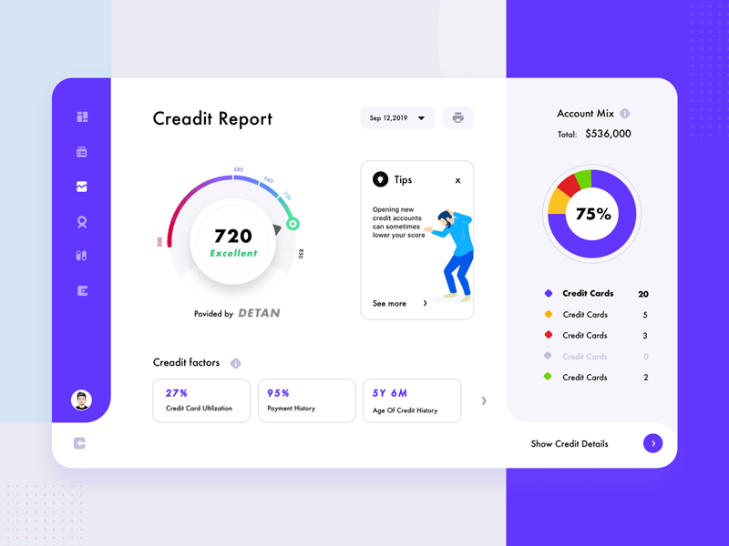 Credit Statement Dashboard from UIGarage