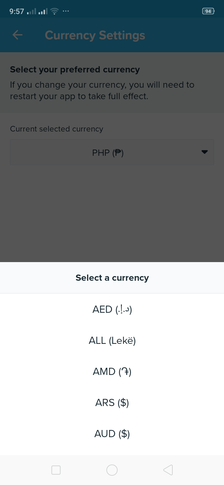 Currency on Android by Wish from UIGarage