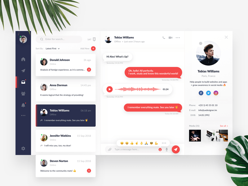 Direct Messaging UI from UIGarage
