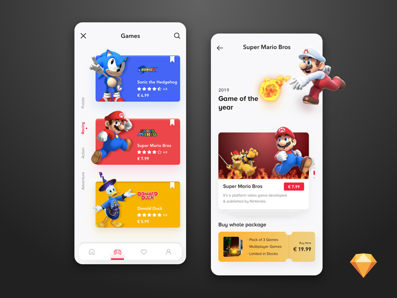 Game Purchasing App Concept from UIGarage