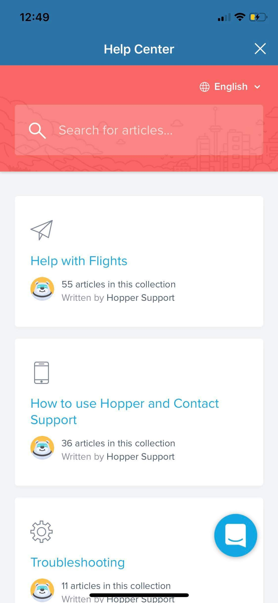 Help Center on iOS by Hopper from UIGarage