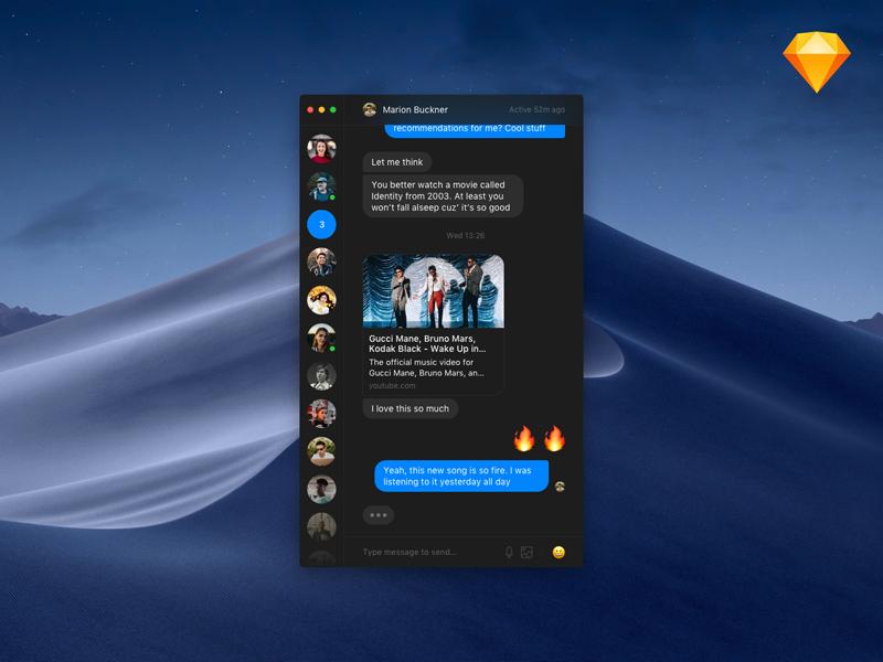 Minimalist Messenger Dark Theme from UIGarage