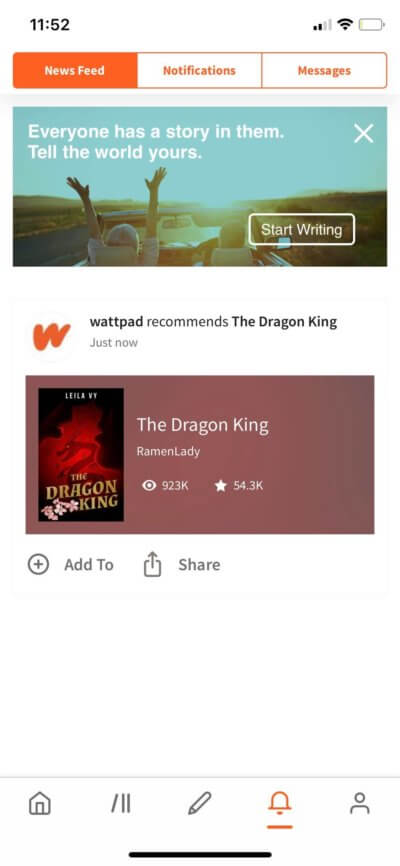 News Feed on iOS by Wattpad from UIGarage